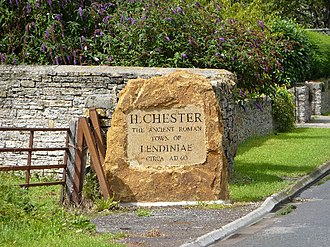 Lindinis - Modern boundary stone commemorating the Roman origins of Ilchester