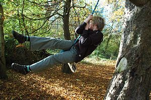 Boy on a tree swing
