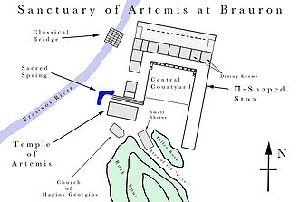 Brauron - Labelled plan of the Sanctuary of Artemis.