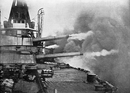 The gun trials of the Brazilian dreadnought Minas Geraes, where all the guns capable of training to the port side were fired, forming what was at that time the heaviest broadside ever fired from a warship Brazilian battleship Minas Geraes firing a broadside.jpg