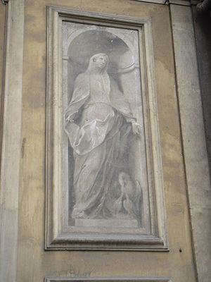 Enrico Albrici - Charity, facade fresco, at S. Maria dei Miracoli, Brescia (At lower right corner, bird cuts itself, in order to feed blood to offspring)
