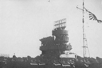 Shōkaku-class aircraft carrier - The island with its Type 21 radar aboard Zuikaku, 1942–43