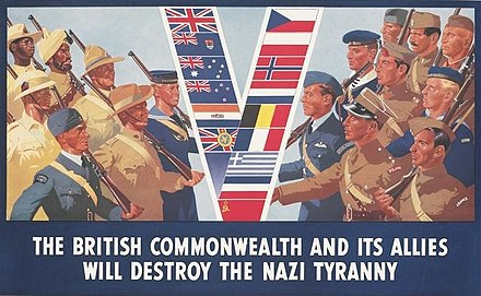 A British poster from 1941, promoting the greater alliance against Germany British Commonwealth and allies.jpg