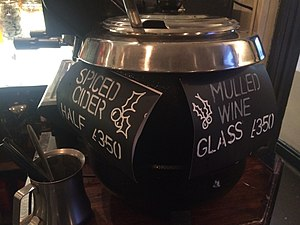 Mulled wine - A British Pub selling mulled wine and spiced (mulled) cider in December