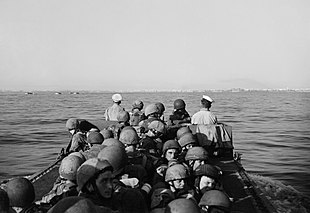 British airborne troops approaching Taranto in a landing craft, during the invasion of Italy, 14 September 1943. A19320.jpg