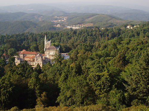 Mountains and National Palace of Bussaco Bucaco.JPG