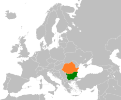 Map indicating locations of Bulgaria and Romania