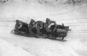 Winter sport - An East German bobsleigh in 1951, Oberhof track, Germany