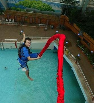West Edmonton Mall - In 2007, Peter Charney broke the world record for the most number of bungee jumps in 24 hours.
