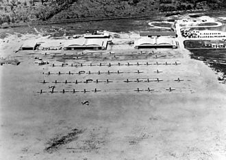 Augusta Regional Airport - Training aircraft and hangars at Bush Field, about 1943