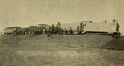 Derailed armoured CGR 3rd Class 4-4-0 1889 at Kraaipan