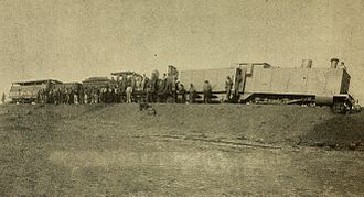 Armoured train - An armoured CGR 3rd Class 4-4-0 1889 locomotive derailed on 12 October 1899 during the first engagement of the Second Boer War at Kraaipan