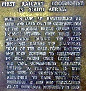 Cape Town Railway & Dock 0-4-0T - Plaque on the engine Blackie's plinth