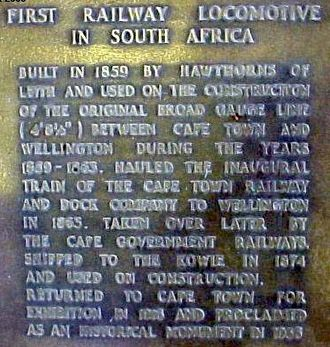 Cape Town Railway & Dock 0-4-2 - Plaque mounted on Blackie's plinth