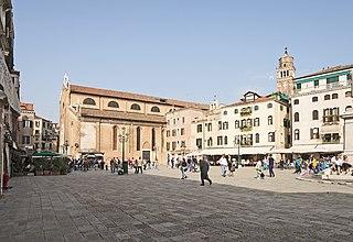 Campo Santo Stefano square in Venice, Italy
