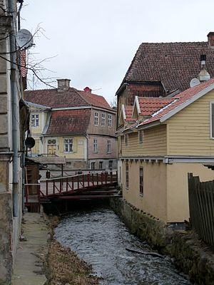 Kuldīga - The Alekšupīte River canalled through Kuldīga
