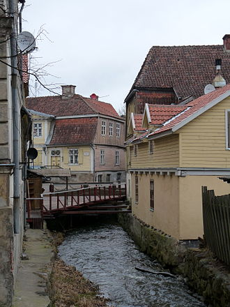 Kuldīga - The Alekšupīte River canalled through Kuldīga