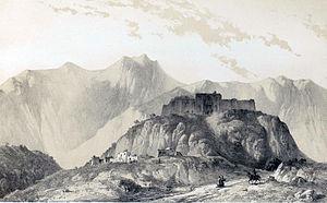 Safavid Caravanserai, Bisotun - a paint by Eugène Flandin