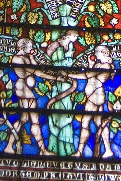 "File:Carcassonne - La Cité - Basilique Saint-Nazaire - ""Tree of Life""-Window - Adam, Eve, Snake & 2 Apples; Notice the 19th century Blue & Red.jpg"