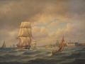 Carl Bille - Marine med talrige skibe ud for Kronborg.png