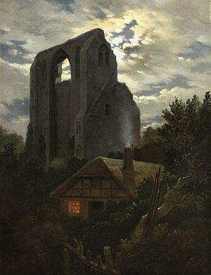 Carl Gustav Carus -  Carl Gustav Carus - Ruine Eldena mit Hütte bei Greifswald im Mondschein