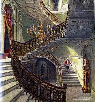 Carlton House - The main staircase, from Pyne's Royal Residences (1819)