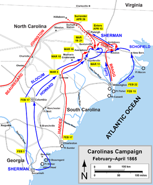 Map Of Georgia 1865.Campaign Of The Carolinas Wikipedia