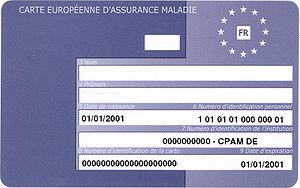 European Health Insurance Card - Sample French EHIC