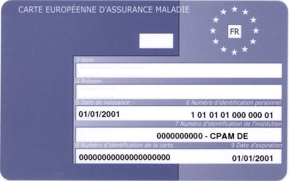 Carte Europ%C3%A9enne d%27Assurance Maladie France