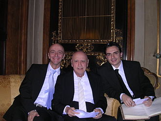 Fabio Casadei Turroni - Fabio Casadei Turroni (left) together with Maestro Sylvano Bussotti and violinist Luca Paoloni (right) after a concert at Lyceum in Florence, Italy