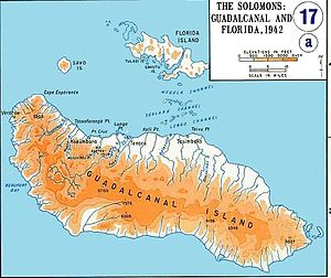 Actions along the Matanikau - Guadalcanal. The U.S. Marine defenses were concentrated around Lunga Point (left-center of the map). The Matanikau River, Point Cruz, and Kokumbona village, where many of the Japanese troops were located, are just to the west of Lunga Point.