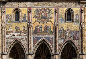 Last Judgment - The Last Judgment mosaic (14th-century), Saint Vitus Cathedral, Prague, Czech Republic