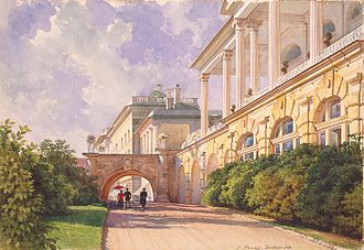 Tsarskoye Selo - Catherine Palace with a view of the Cameron Gallery; Tsarskoye Selo in a watercolor by Luigi Premazzi, c. 1855.