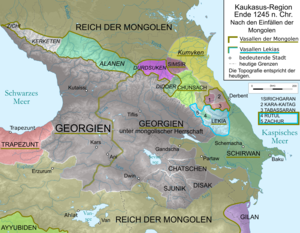 Alania - Political map of the Caucasus region in 1245
