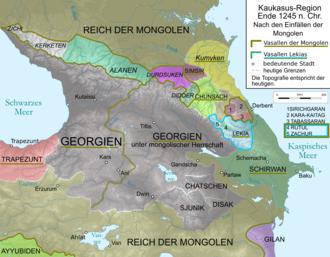 Alania - Political map of the Caucasus region in 1245