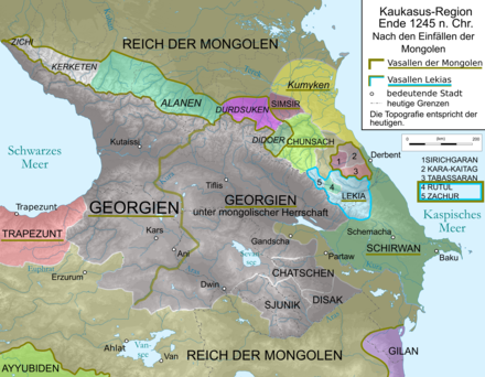 Map of Kingdom of Georgia during Mongol invasions, 1245 AD. Caucasus 1245 AD map de.png