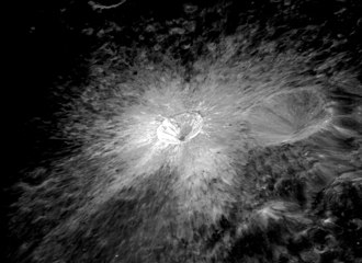 Censorinus (crater) - Oblique view from Apollo 16 showing bright rays