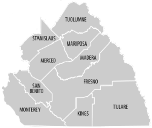 Central California - Image: Central California county map
