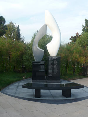 Cerritos, California - The Cerritos Air Disaster Memorial in the Cerritos Sculpture Garden. The sculpture is a memorial for Aeroméxico Flight 498.