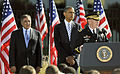 Chairman of the Joint Chiefs of Staff Army Gen. Martin E. Dempsey, right, speaks while President Barack Obama, center, and Secretary of Defense Leon E. Panetta observe at the Pentagon Memorial Sept 120911-D-NI589-414.jpg