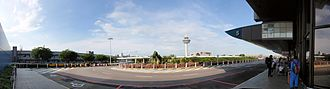 Infrastructure of Singapore Changi Airport - Panoramic view from Changi Airport Terminal 1 – Departure Door 5.