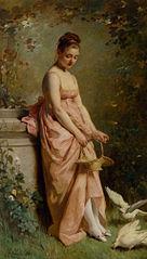 Jeune Femme nourissant des colombes