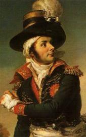 Détail de tableau avec Charette en costume noir à parements rouges, avec ceinture blanche et chapeau à panache blanc.