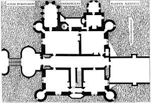 Château de Chenonceau - Plan of the main block, engraved by Du Cerceau (1579)