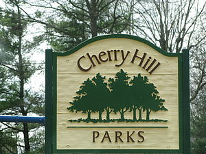 English: A Cherry Hill Public Parks sign locat...