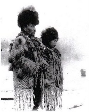 Salish weaving - Chief George and his daughter in 1902 wearing traditional garb.