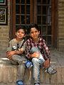 Children in Ribat-i-Abbasi of Nishapur (Hossein - Ali - Fatemeh - Hengameh and another girl - probably Afghani) 03.jpg