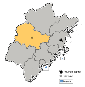 Sanming is highlighted on this map
