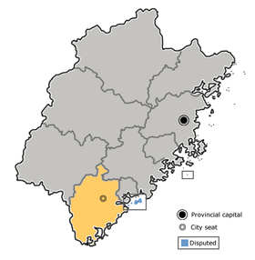 Zhangzhou is highlighted on this map