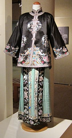 File:Chinese embroidered silk lady's jacket and pleated ...